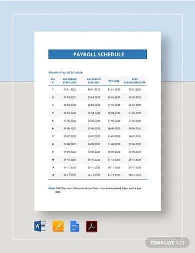 payroll schedule template1