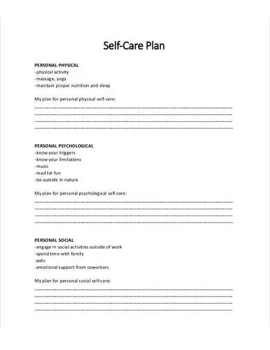 personal self care plan template
