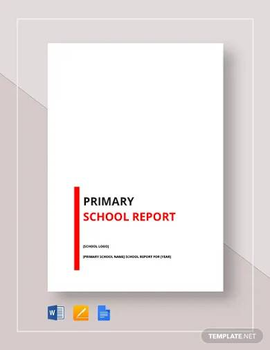 primary school report template