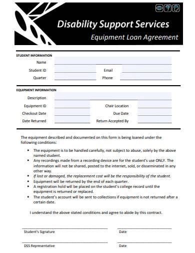 printable equipment loan agreement