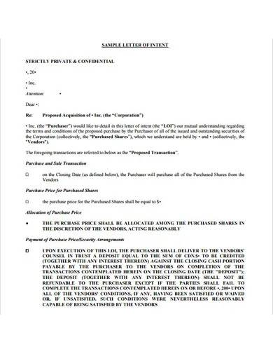 printable letter of intent template