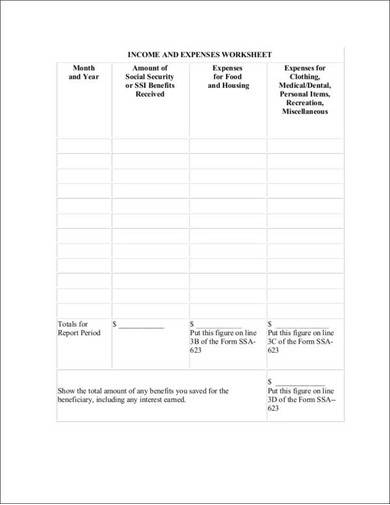 printble income and expenses worksheet