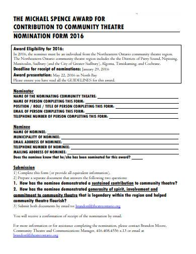 professional award nomination form
