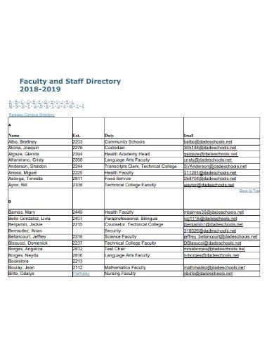 professional faculty and staff directory