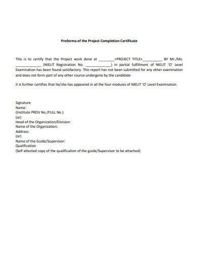 proforma of project completion certificate