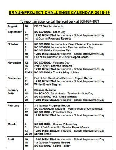 project challenge calendar
