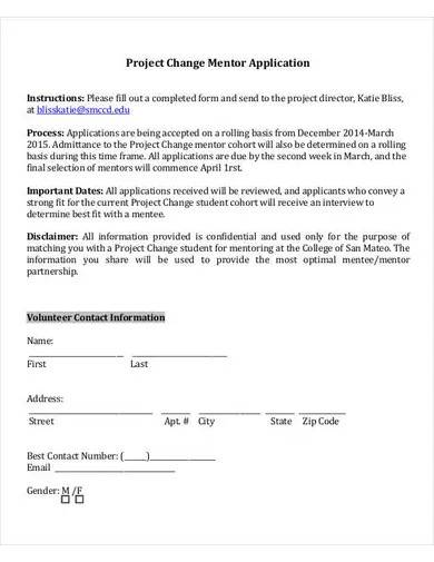 project change mentor application form