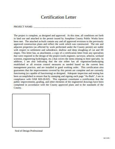project completion certificate letter