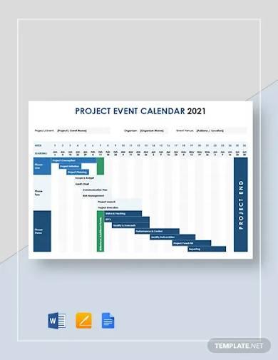 project event calendar template