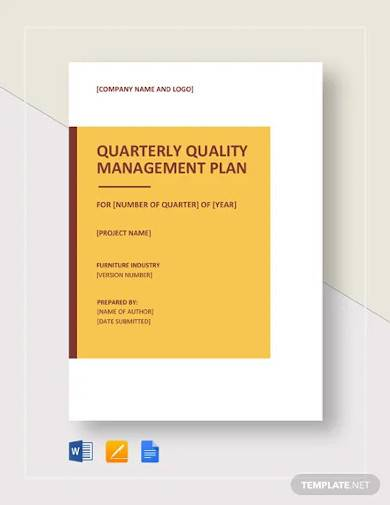 project quality management plan template