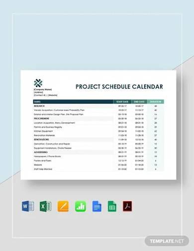 project schedule calendar template