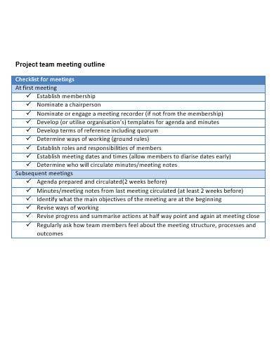 project team meeting outline
