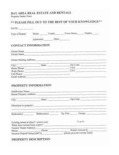 property intake form sample