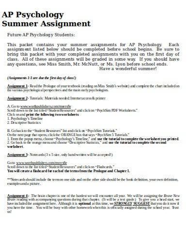 psychology summer assignment template