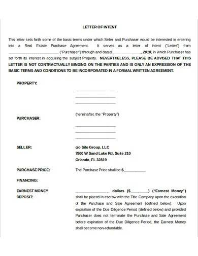 purchase letter of intent for commercial property