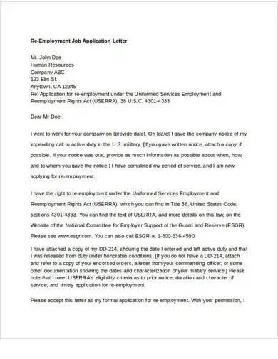 re employment job application letter