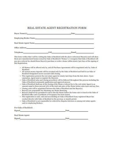 real estate agent registration form