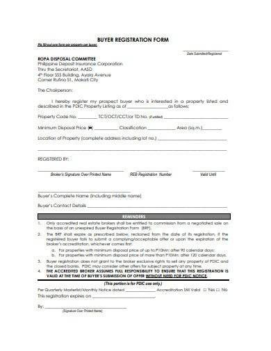 real estate buyer registration form