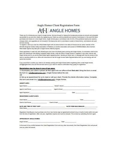 real estate client registration form
