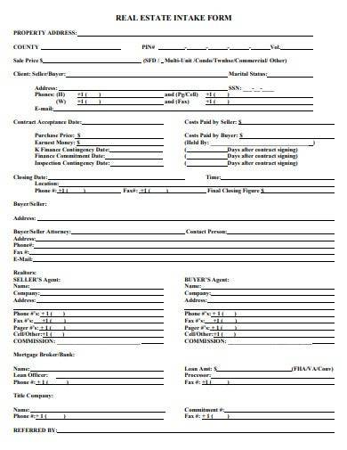 real estate intake form template