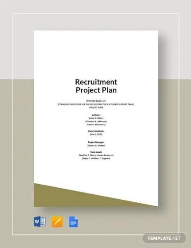 recruitment project plan template