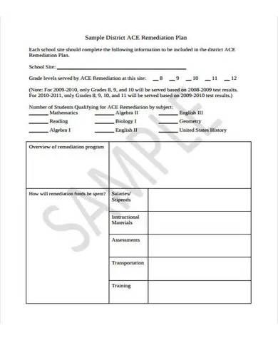 remediation plan sample format