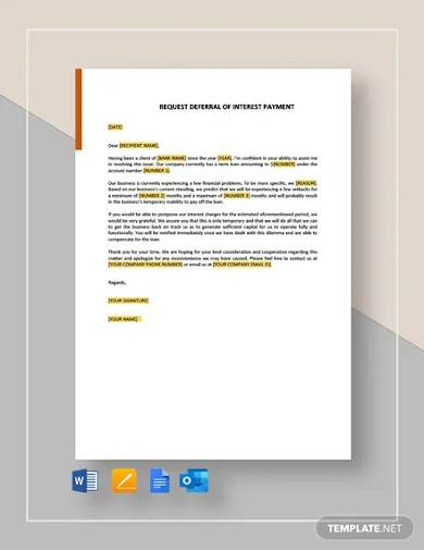 request deferral of interest payment template