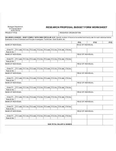 research proposal budget worksheet