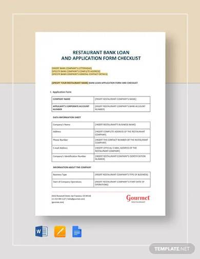 restaurant bank loan and application form checklist