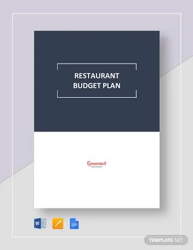 restaurant budget plan template