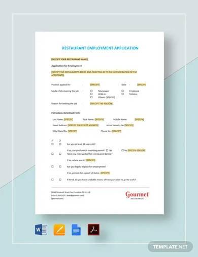 restaurant employment application template