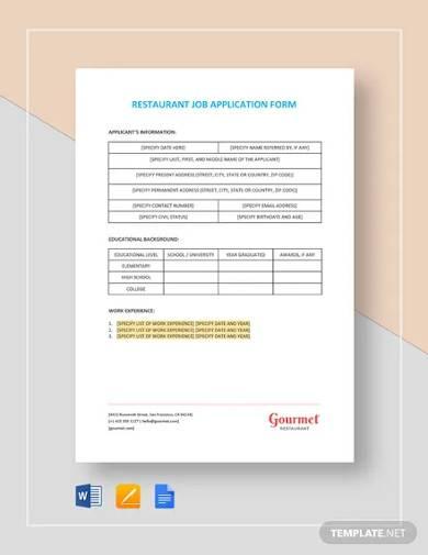 restaurant job application form template1