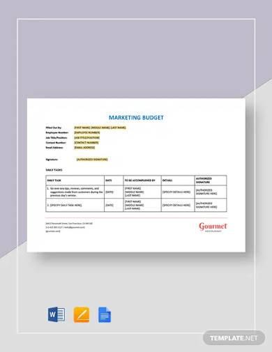 restaurant marketing budget template