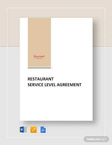 restaurant service level agreement template