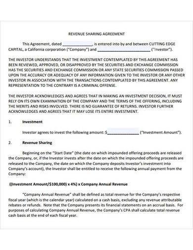 revenue profit sharing agreement
