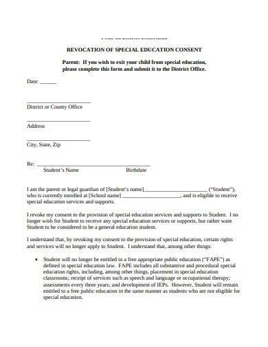 revocation of special education consent form