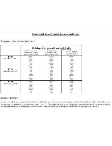 rotation holiday schedule template