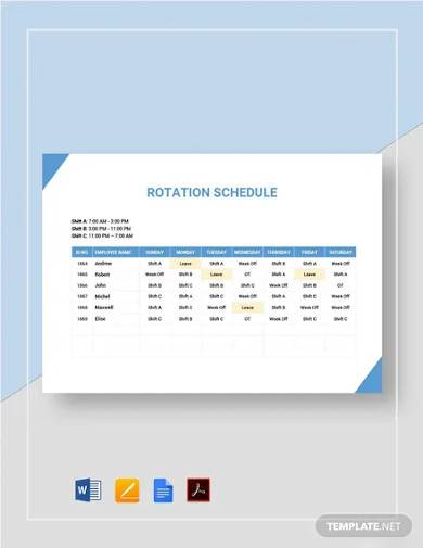 rotation rotating schedule template