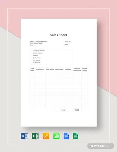 sales sheet template
