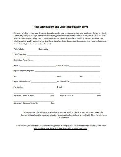sample agent and client registration form