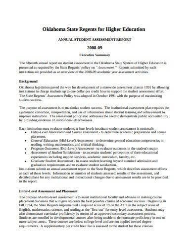 sample annual student assessment report