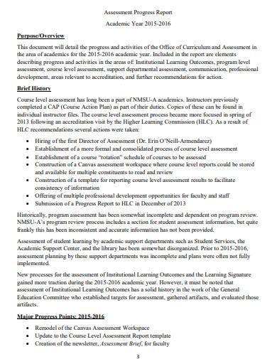 sample assessment progress report