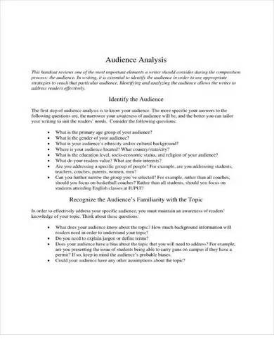 sample audience analysis guide
