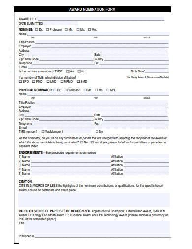 sample award nomination form
