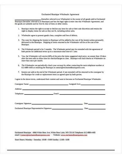 sample boutique wholesale agreement
