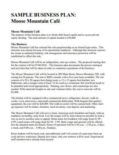 sample café business plan format