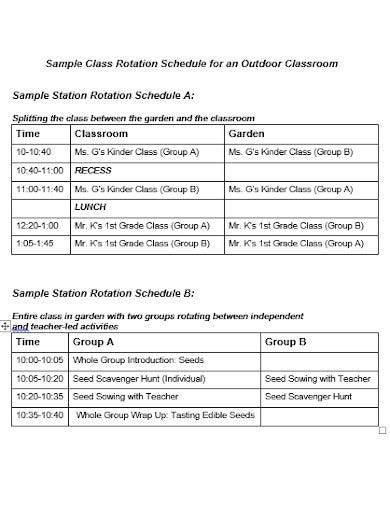 sample class rotation schedule template