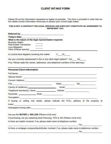 sample client intake form