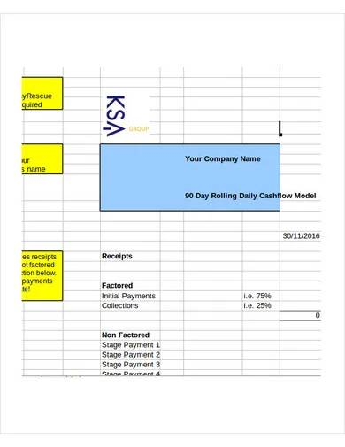 sample daily cash flow template