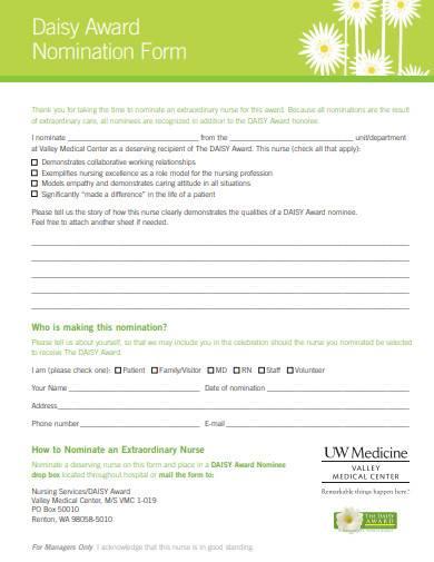 sample daisy award nomination form